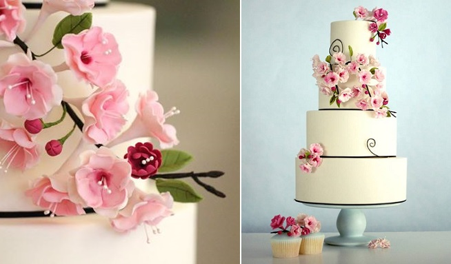 gumpaste cherry blossom wedding cake Fair Cakes UK