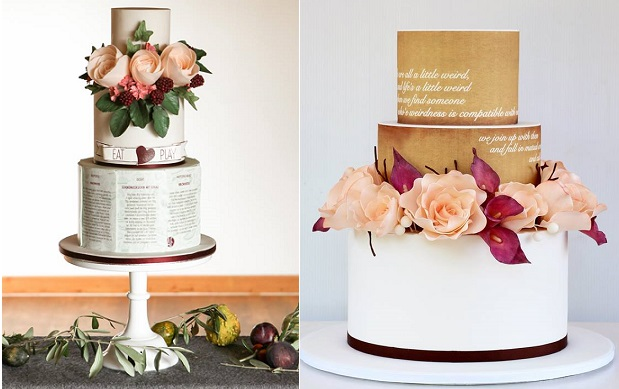 handwriting wedding cake script on wedding cakes by Pasteles Alma left & Sweet Disposition Cakes right