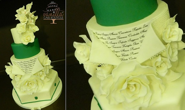 love letter wedding cake with handwriting script by The Vanilla Cake Boutique