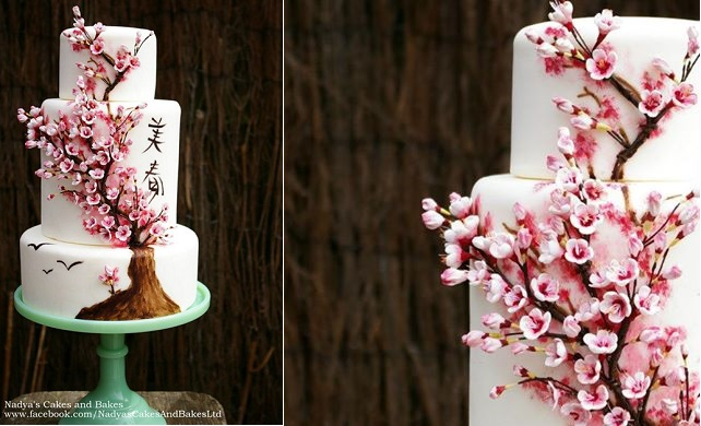 multi dimensional cake decorating cherry blossom wedding cake Japanese influence by Nadya's Cakes & Bakes UK