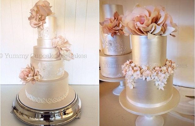 pale gold wedding cakes by Yummy Cupcakes & Cakes