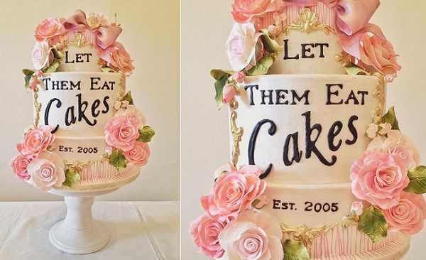 French baroque wedding cake with gold frame and handpainted details by Let Them Eat Cakes, Canada