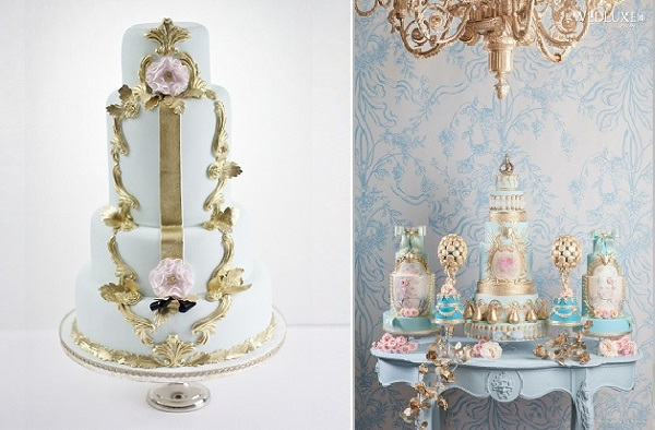French baroque wedding cakes in pale blue with gilded-gold-framing-by the Cake Opera Co.