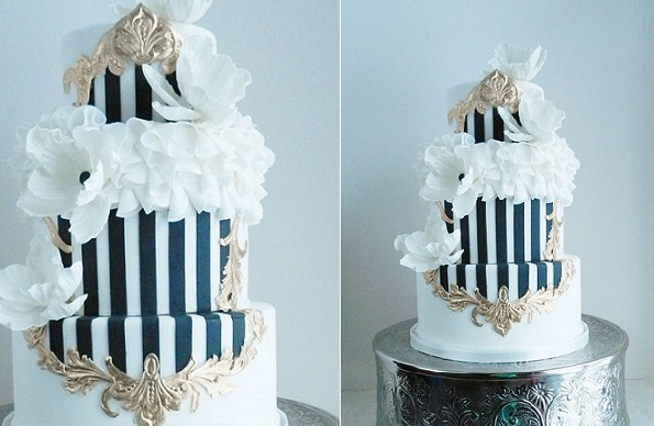 French inspired wedding cake with navy & white stripes and gilded gold frame by The Cake Whisperer