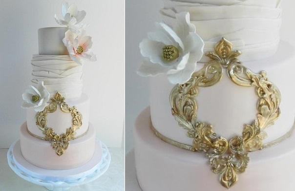 antique gold frame wedding cake by The Cake Whisperer