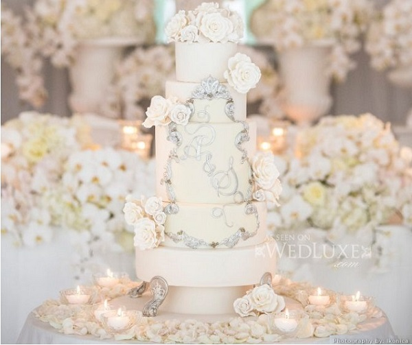 antique silver frame monogram wedding cake by The Cake Opera Co. via WedLuxe, Iconica Photography