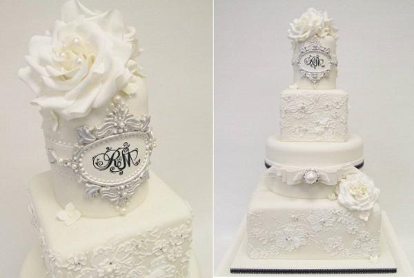 antique silver frame wedding cake by Emma Jayne Cake Design