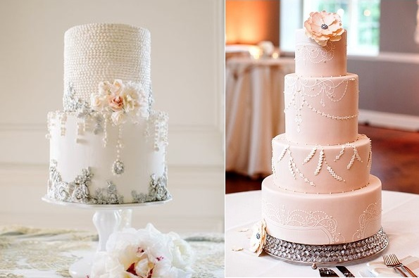 bas relief cake chandelier inspired by Maggie Austin left, chandelier stencil from the Evil Cake Genius right, image via Brides.com