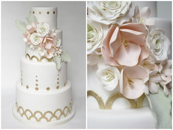 blush pink and dusty miller foliage wedding cake with gold accents by Sugarbelle Cakes CA