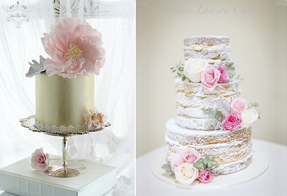 cakes with dusty miller silver foliage by Leslea Matsis Cakes left and Alison Lawson Cakes right