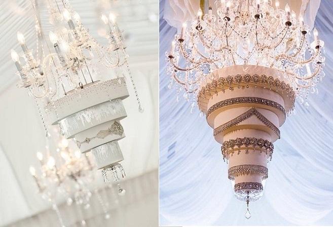chandelier wedding cakes by Caroline Nagorcka Sculptress of Cakes left and image right via FourSeasons.com