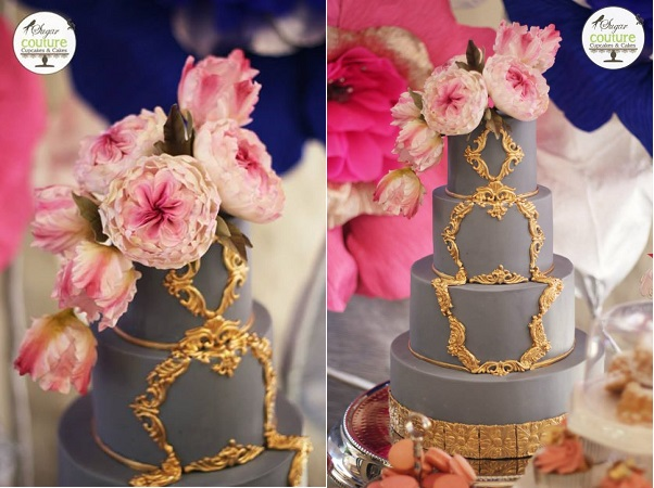 charcoal grey wedding cake with gilded gold frame by Sugar Couture Cupakes & Cakes