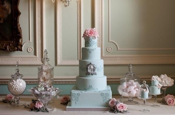 duck egg blue wedding cake with silver framed monogram by Zoe Clark Cakes