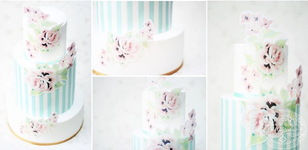 floral appliques wedding cake by Helen Devine of OH Gateaux, Ireland