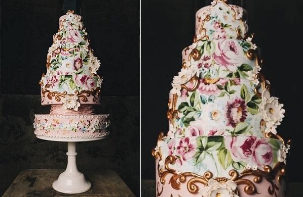 floral baroque wedding cake by Nevie Pie Cake, image by Brighton Photography via Whimsical Wonderland Weddings