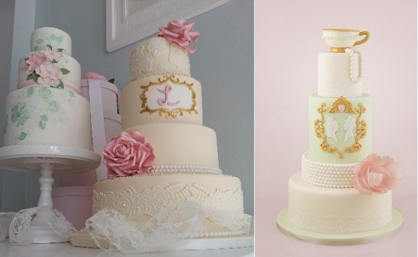gilded gold frame cake tutorial by Tracey Rothwell right, cakes left by The Rolling Pin, Canada