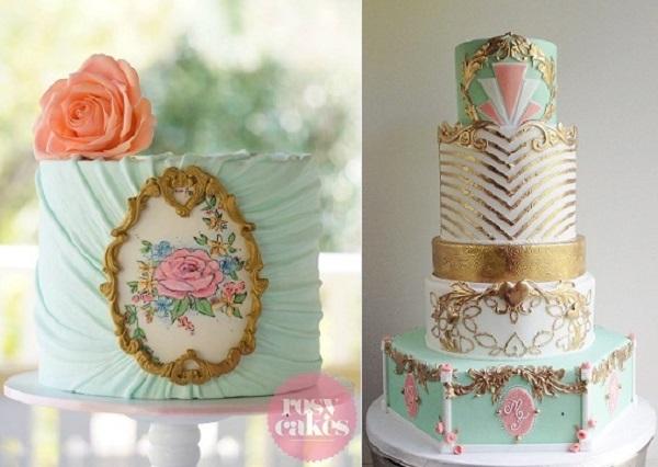 gilded gold frame cake tutorial from Rosy Cakes left, art deco wedding cake fromThe Cake Whisperer right