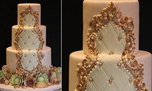 gilded gold frame wedding cake design by Joshua John Russell