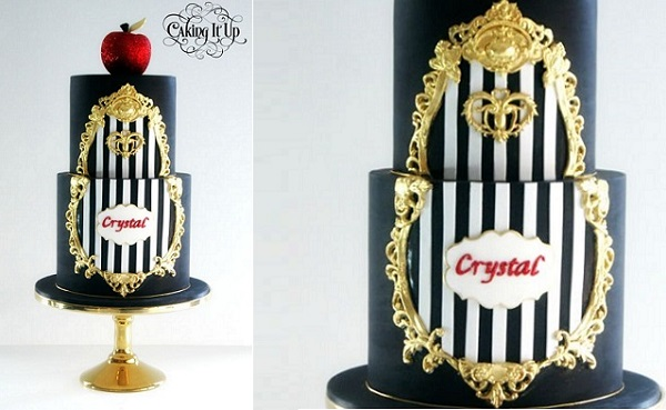 gilded gold framed black birthday cake Snow White theme by Caking It Up