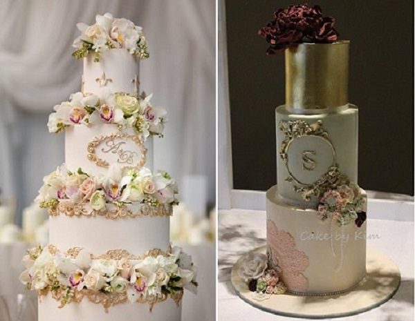 gold frame details wedding cakes by Faye Cahill, Lucy Leonardi Photography left, Cake by Kim AU right