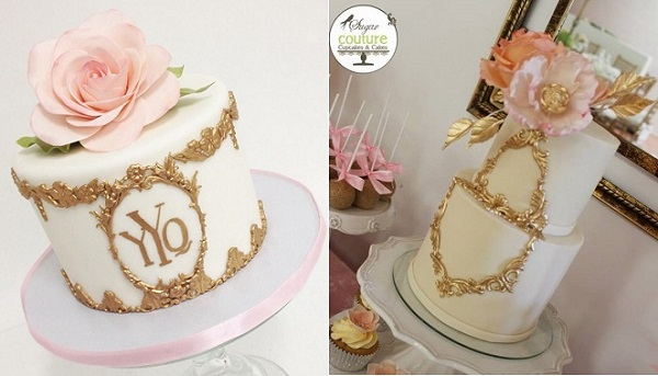 gold framed antique cakes by Sweet and Saucy left, Sugar Couture Cupcakes & Cakes right