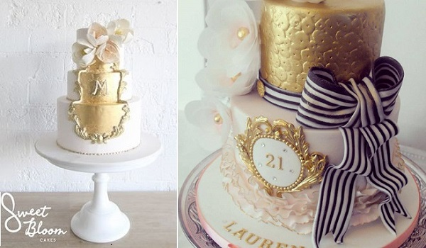 gold framed cake designs by Sweet Bloom left, Dee's Sweet Surprises right