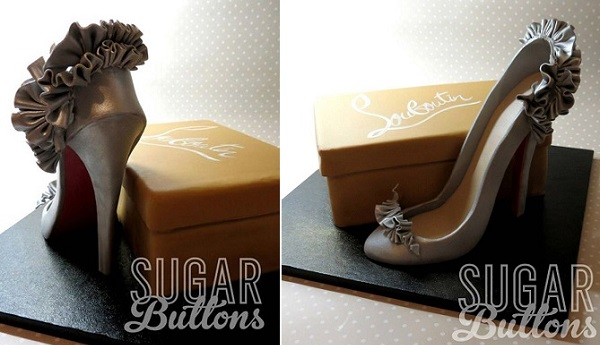 gumpaste shoe and shoebox cake by Sugar Buttons