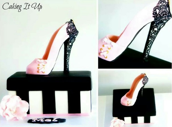 gumpaste shoe and shoebox cake with lace trim by Caking It Up