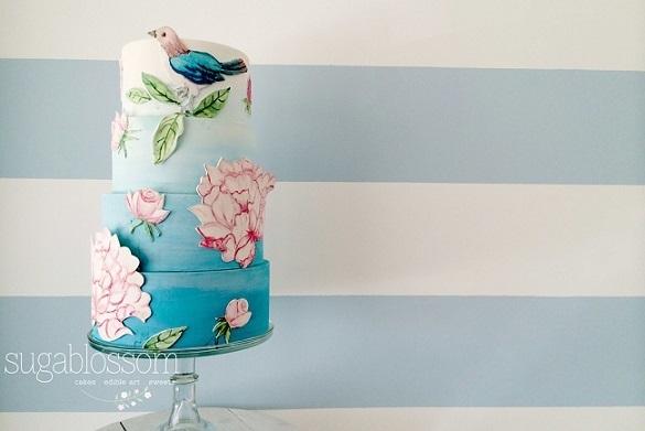 handpainted floral applique and bird wedding cake by Sugablossom Cakes