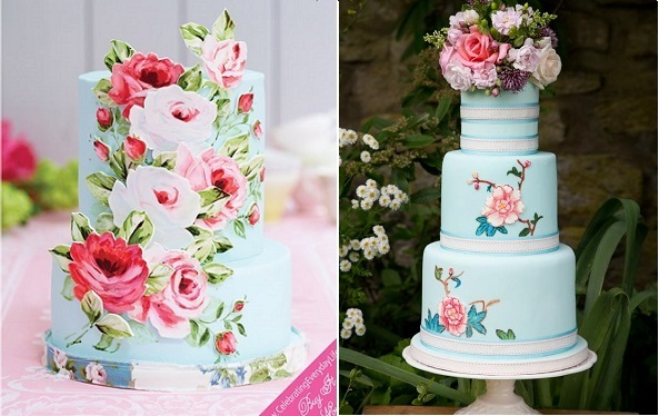 handpainted floral applique wedding cakes by Nevie Pie Cakes left and by Emily Harmiston Cakes right