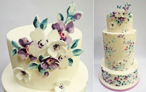 handpainted floral appliques wedding cake by Natasha Collins of Nevie Pie Cakes