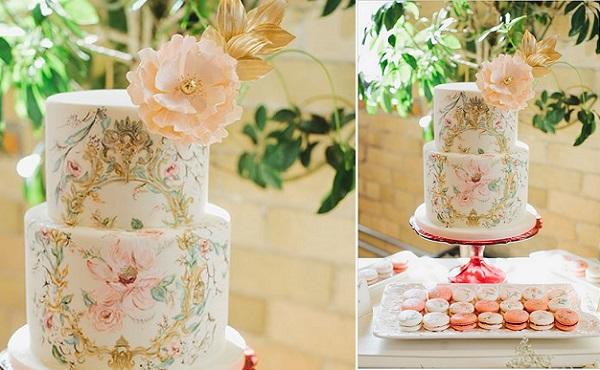 handpainted gold frame wedding cake baroque style by Nadia & Co., image by Mango Studios via Wedding Chicks