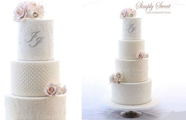 lace frame monogram wedding cake by Simply Sweet Cakes Designs by Diana