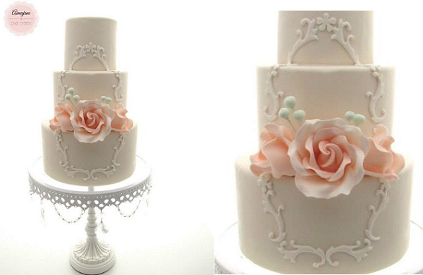 lace frame wedding cake by Aimee Jayne Cake Design