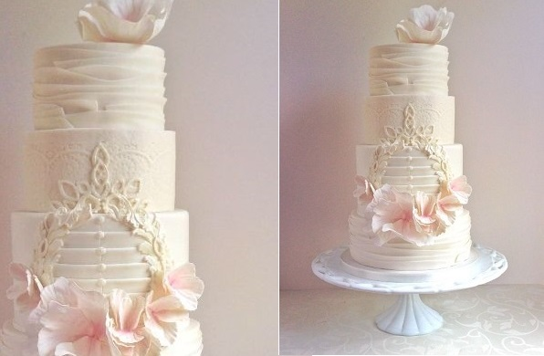 wedding cake with lace frame detail by the Cake Whisperer Canada