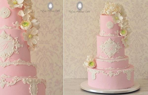 lace frame wedding cake pink by Fatma Alkuwari Cakes
