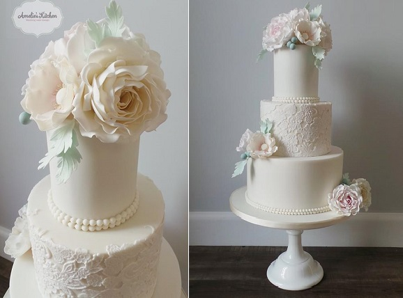 lace wedding cake with mint foliage by Amelie's Kitchen