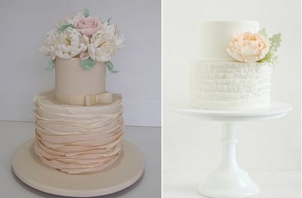 peach wedding cakes with ruffles and silver foliage by Cakesalouisa left, Hello Naomi right