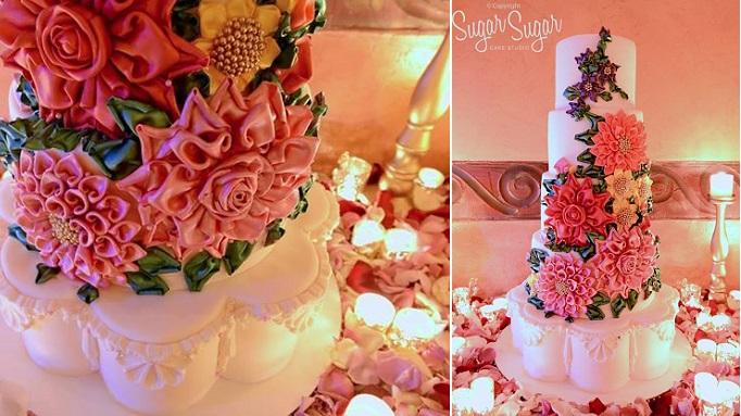 petal shaped wedding cake by Sugar Sugar Cake Studio, Phyllis Lane Photography
