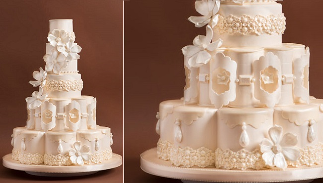 petal shaped wedding cake tier by Just Cake, Angela Aurelio Photography