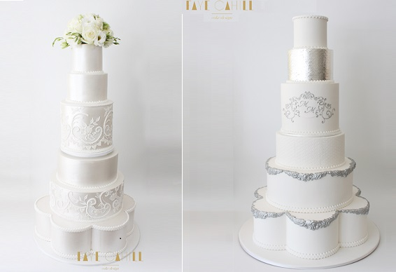 petal shaped wedding cake tiers with cakes by Faye Cahill Cake Design