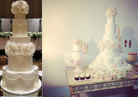petal shaped wedding cakes by Cake Lady Cakes left and Peggy Porschen right