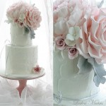 pink peonies and roses with dusty miller wedding cake by Leslea Matsis