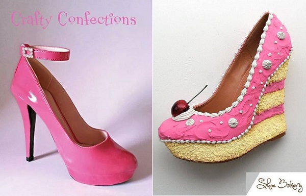 shoe cake by The Shoe Bakery right and sugar shoe gumpaste ankle strap shoe by Crafty Confections left
