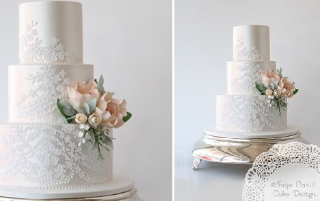 silver foliage and peach wedding cake with piped lace by Faye Cahill Cake Design