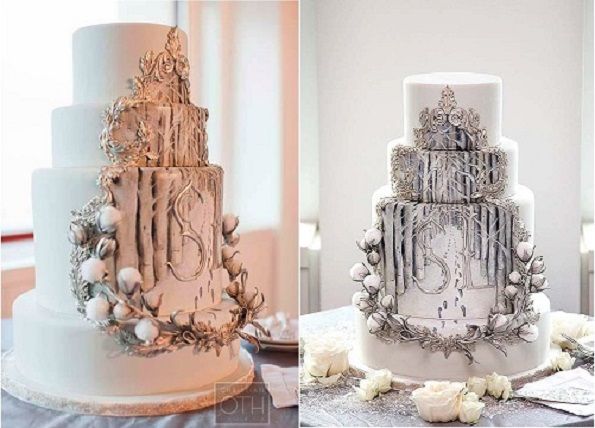 silver framed winter wedding cake with handpainted scene by The Cake Opera Co., Christian Oth Photography