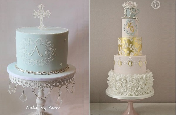 stencilled lace frame Cake by Kim left, blue frame wedding cake by Cotton & Crumbs right