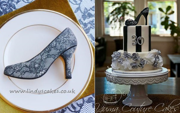 stiletto shoe cookie by Lindy's Cakes left, high heel birthday cake by Yuma Couture Cakes right