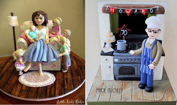 sugar models and sugar scenes by Little Lady Baker left, Made in Cake right