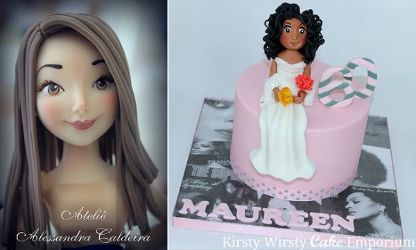 sugar models cake toppers by Alessandra Caldeira left, Kirsty Wirsty Cake Emporium right